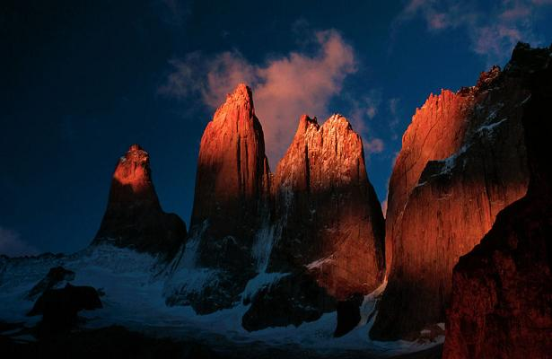The 6000ft granite walls of Torres del Paine