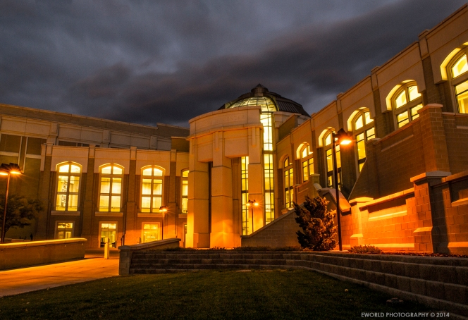 "L.E. and Thelma E. Stephens Performing Arts Center, Idaho State University's Pocatello, Idaho, during the evening "" blue hour."" Capturing colors we might not see with the naked eye, September 10, 2014. Camera Settings f/22, Shutter speed 13.0 and ISO 100."